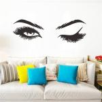 2 PCS/Set Makeup Shop Beauty Studio Decoration Personality Eyebrow Wall Sticker, Size:57x19cm(Black)