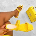 Women Shoes Pure Color Sandals Slippers, Size:37(Yellow)
