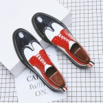 Men British Business Casual Brock Color Matching Leather Shoes, Size:40(Red White Blue)