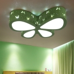 50cm 32W Colorful Butterfly Hollow Iron LED Ceiling Lamp, Light Color:LED Dimming + Remote Control(Green)