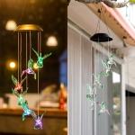 Creative Electronics Solar LED Hummingbird Wind Chime Light Seven Colors