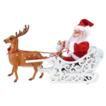 Novelty Creative Elk Sled Santa Claus Doll With Music Electric Universal Car Toy Christmas Gift