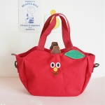 Cartoon Shoulder Tote Bag Fruit Banana Apple Embroidered Canvas Kids Crossbody Messenger Bags(Red)