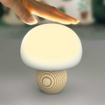 LED Intelligent Timing Mushroom Pat Lamp Wood Magnetic Light USB Charging 3 Modes Dimming Bedroom Night Light, Power Source:1.5W(Original Eucalyptus)