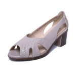 Women Peep Toe SandalsThick High Heel Soft Leather Shoes, Size:40(Light Brown)