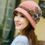 Autumn and Winter Middle-aged Ladies Wool Crochet Flower Decoration Warm Knit Hat, Size:One Size(Pink)