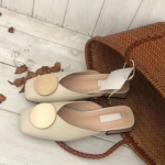 Metal Round Baotou Slippers Lazy Sandals, Shoe Size:37(Beige)
