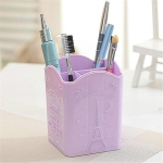 3 PCS Tower Pattern Creative Multifunctional Plastic Pen Holder Desk Surface Cosmetics Four Compartment Storage Box(Purple   )