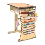 Multi-function Desk Large Capacity High School Student Book Storage Hanging Book Bag(Beige)
