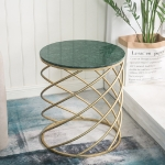 SY0588 Round Coffee Table Modern Minimalist Creative Personality Bedroom Bedside Table, Color:Green Spring, Size:50x50x57cm