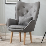 Single Lazy Sofa Modern Minimalist Casual Cotton Sofa Chair(Light Gray)