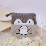 Cute Cartoon Penguin Plush Purse Wallet(Light Grey)