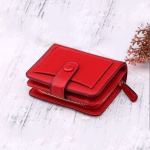 Women Short Litchi Texture Multi-card Buckle Wallet(Red)