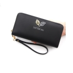 R111-28 Ladies Fashion Zipper Clutch Bag Wallet Card Bag Wallet(Black)