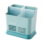 Kitchen Tabletop Candy Color Compartment Hollow Chopsticks Cage Creative Kitchen Cage Cutlery Drain Storage Chopsticks Rack, Number of layers:Four grids of blue
