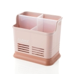 Kitchen Tabletop Candy Color Compartment Hollow Chopsticks Cage Creative Kitchen Cage Cutlery Drain Storage Chopsticks Rack, Number of layers:Four grids of pink