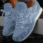 Autumn and Winter Sponge Sequins Breathable Platform Sports Shoes, Size:40(Light Blue)