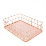 Rose Gold Net Bottom Modern Minimalist Office Home Wrought Iron Storage Basket, Size:Small Size