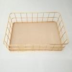 Gold Net Bottom Modern Minimalist Office Home Wrought Iron Storage Basket, Size:Large Size