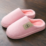 Women Winter Solid Color Warm Fur Slippers Slippers House Shoes Flat Heel, Size:42-43(Pink)