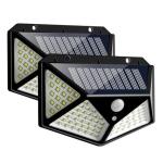 2 PCS  100 LEDs Outdoor Patio Solar Induction Wall Light Adjustable Balcony Garden Lighting Small Street Light