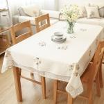 Flowers Hollow Lace Cotton Linen Dustproof Table cloth Wedding Banquet TV Cabinet Cover Cloth, Size:85x85cm(White)