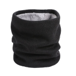 Autumn and Winter Men and Women Warm Wild Wool Scarf Plus Velvet Thickening Hood Knit Collar, Size:One Size(Black)