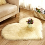 Love Heart Rugs Artificial Wool Sheepskin Hairy Carpet Faux Floor Mat Fur Plain Fluffy Soft Area Rug Tapetes, Size:30*40cm(Yellow)