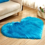 Love Heart Rugs Artificial Wool Sheepskin Hairy Carpet Faux Floor Mat Fur Plain Fluffy Soft Area Rug Tapetes, Size:50*60cm(Dark Blue)