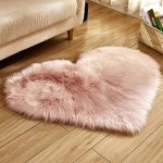 Love Heart Rugs Artificial Wool Sheepskin Hairy Carpet Faux Floor Mat Fur Plain Fluffy Soft Area Rug Tapetes, Size:70*90cm(Pink)