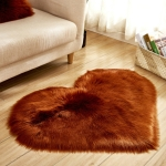 Love Heart Rugs Artificial Wool Sheepskin Hairy Carpet Faux Floor Mat Fur Plain Fluffy Soft Area Rug Tapetes, Size:80*90cm(Coffee)