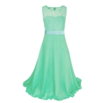 Long Lace Chiffon Tube Top Princess Dress Children's Dress Piano Costume, Size:8/110cm(Light Green)