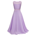 Long Lace Chiffon Tube Top Princess Dress Children's Dress Piano Costume, Size:10/130cm(Lavender)