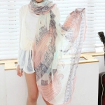 Autumn and Winter Sunscreen Cotton Voile Shawl Print Scarf Beach Silk Scarf, Size:165 x 55cm(As The Picture Shows)