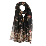 A hundred Birds Contend Pattern Cotton Voile Thin Long Scarf Shawl, Size:180 x 90cm(Black)