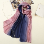 Silk Imitation Hand-painted Gradient Long Sunscreen Shawl Scarf, Size:180 x 90cm(Pink + Blue)