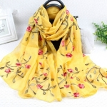 Autumn and Winter National Style Wild Peach Blossom Embroidery Pattern Long Lace Scarf Silk Scarf, Size:172 x 70cm(Ginger Yellow)