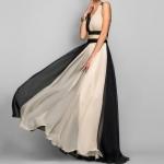 V-neck Sleeveless Color Stitching Slim Dress Long Evening Dress, Size:XL(Black)