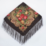 Brown Ethnic Style Retro Tassel Square Scarf Flower Pattern Headscarf Scarf, Size:90 x 90cm