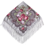 Gray Ethnic Style Retro Tassel Square Scarf Flower Pattern Headscarf Scarf, Size:90 x 90cm