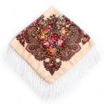 Beige Ethnic Style Retro Tassel Square Scarf Flower Pattern Headscarf Scarf, Size:90 x 90cm