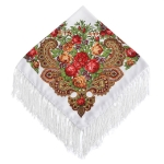 Red Flower on White Ethnic Style Retro Tassel Square Scarf Flower Pattern Headscarf Scarf, Size:90 x 90cm