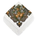 Gray Flower on White Ethnic Style Retro Tassel Square Scarf Flower Pattern Headscarf Scarf, Size:90 x 90cm