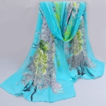 Ladies Peacock Flowers Printed Pattern Scarf Thin Chiffon Scarf Beach Sun Protection Shawl, Size:50×160cm(Sky Blue)