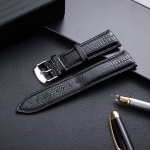 Lizard Texture Leather Strap Replacement Watchband, Size: 24mm (Black)