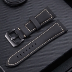 Crazy Horse Layer Frosted Black Buckle Watch Leather Wrist Strap, Size: 24mm (Black)