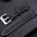 Crazy Horse Layer Frosted Silver Buckle Watch Leather Wrist Strap, Size: 22mm(Black)