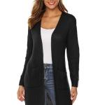 Irregular Solid Long Sweater (Color:Black Size:L)