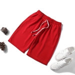 Men Casual Loose 5-pants Shorts (Color:Red Size:M)