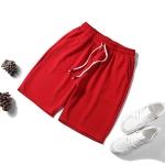 Men Casual Loose 5-pants Shorts (Color:Red Size:XXXL)